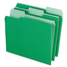 Pendaflex® Colored File Folders, 1/3 Cut Top Tab, Letter, Green/Light Green, 100/Box