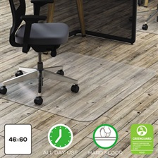 deflecto® Clear Polycarbonate All Day Use Chair Mat for Hard Floor, 46 x 60