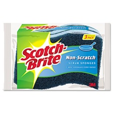 Scotch-Brite® Non-Scratch Multi-Purpose Scrub Sponge, 4 2/5 x 2 3/5, Blue, 3/Pack