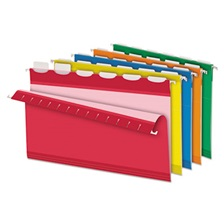 Pendaflex® Colored Reinforced Hanging Folders, 1/6 Tab, Legal, Asst, 25/Box