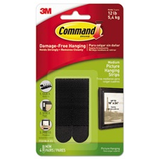 "Command™ Picture Hanging Strips, 3/4"" x 2 3/4"", Black, 4/Pack"