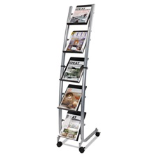 Alba™ Mobile Literature Display, 13 3/8w x 20 1/8d x 65 3/8h, Silver Gray/Black