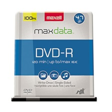 Maxell® DVD-R Discs, 4.7GB, 16x, Spindle, Gold, 100/Pack