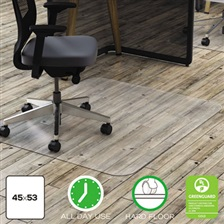 deflecto® Clear Polycarbonate All Day Use Chair Mat for Hard Floor, 45 x 53