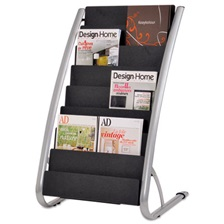 Alba™ Literature Floor Rack, 16 Pocket, 23 x 19 2/3 x 36 2/3, Silver Gray/Black