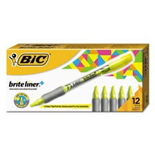 BIC® Brite Liner + Highlighter, Chisel Tip, Fluorescent Yellow, Dozen