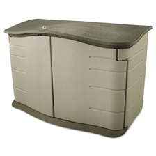 Rubbermaid® Horizontal Outdoor Storage Shed, 55 x 28 x 36, 20 cu. ft., Olive Green/Sandstone