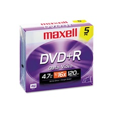 Maxell® DVD+R Discs, 4.7GB, 16x, w/Jewel Cases, Silver, 5/Pack