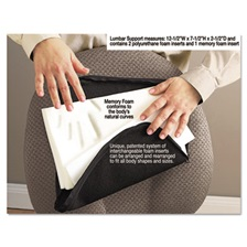 Master Caster® Deluxe Lumbar Support Cushion w/Memory Foam, 12 1/2w x 2 1/2d x 7 1/2h, Black