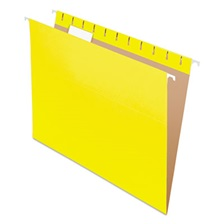 Pendaflex® Colored Hanging Folders, 1/5 Tab, Letter, Yellow, 25/Box