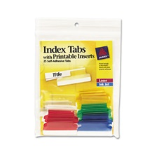 Avery® Insertable Index Tabs with Printable Inserts, 1 1/2, Assorted, White, 25/Pack