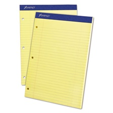 Ampad® Double Sheets Pad, Legal/Wide, 8 1/2 x 11 3/4, Canary, 100 Sheets