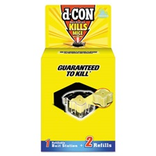 d-CON® Refillable Bait Station & Refills, 3 x 3 x 1 1/4, 0.7oz, 2 Refills/Box, 8/Crtn