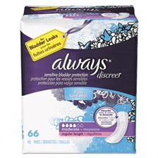 Always® Discreet Sensitive Bladder Protection Pads, Moderate, 66/Pack, 3 Pack/Carton
