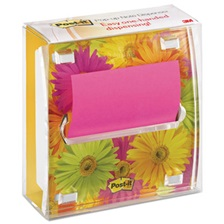 Post-it® Pop-up Notes Pop-up Note Dispenser with Designer Daisy Insert, One 45-Sheet Pad, Black/Clear