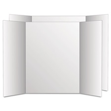 Eco Brites Too Cool Tri-Fold Poster Board, 28 x 40, White/White, 12/Carton