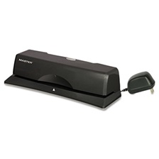 "Master® 10-Sheet EP12 Electric/Battery Three-Hole Punch, 9/32"" Holes, Charcoal"