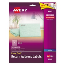 Avery® Clear Easy Peel Return Address Labels, Inkjet, 1/2 x 1 3/4, 2000/Pack
