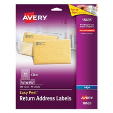 Avery® Clear Easy Peel Return Address Labels, Inkjet, 2/3 x 1 3/4, 600/Pack