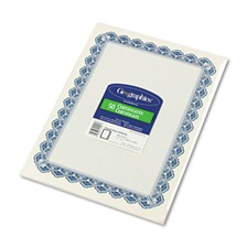 Geographics® Parchment Paper Certificates, 8-1/2 x 11, Blue Royalty Border, 50/Pack