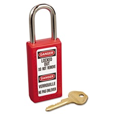 "Master Lock® Lightweight Zenex Safety Lockout Padlock, 1 1/2"" Wide, Red, 2 Keys, 6/Box"