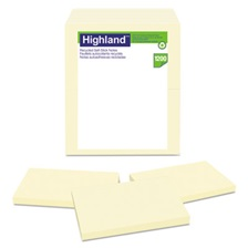 Highland™ Recycled Self Stick Notes, 3 x 5, Yellow, 100 Sheets/Pad, 12 Pads/Pack