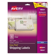 Avery® Clear Easy Peel Shipping Labels, Inkjet, 3 1/3 x 4, 60/Pack
