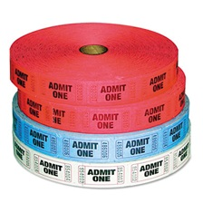 PM Company® Admit-One Ticket Multi-Pack, 4 Rolls, 2 Red, 1 Blue, 1 White, 2000/Roll