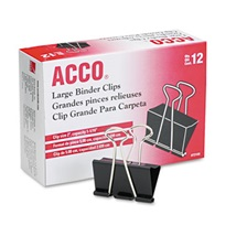 "ACCO Large Binder Clips, Steel Wire, 1 1/16"" Cap, 2""w, Black/Silver, Dozen"