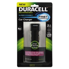 Duracell® Car Charger for USB Devices, Two Ports, LED Light