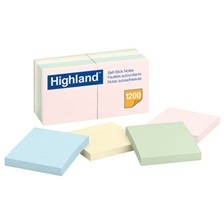Highland™ Self-Stick Notes, 3 x 3, Assorted Pastel, 100-Sheet, 12/Pack