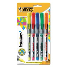 BIC® Brite Liner + Highlighter, Chisel Tip, Assorted Colors, 5/Set