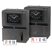 Lathem® Time Heavy-Duty Time Clock, Mechanical, Charcoal