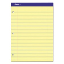 Ampad® Double Sheets Pad, College/Medium, 8 1/2 x 11 3/4, Canary, 100 Sheets