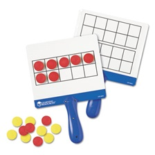 Learning Resources® Magnetic Ten Frame Boards, 4 Blue/White Boards, 100 Red/Yellow Foam Counters