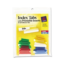 Avery® Insertable Index Tabs with Printable Inserts, 1, Assorted Tab, 25/Pack