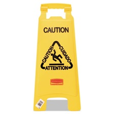 "Rubbermaid® Commercial Multilingual ""Caution"" Floor Sign, Plastic, 11 x 1 1/2 x 26, Bright Yellow"