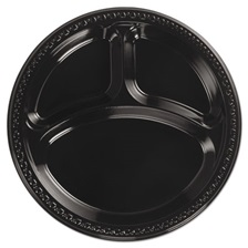"Chinet® Heavyweight Plastic 3 Compartment Plates, 10 1/4"" Dia, Black, 125/PK, 4 Packs/CT"