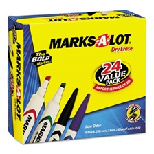 Avery® Marks-A-Lot Desk/Pen-Style Dry Erase Marker, Chisel/Bullet Tip, Assorted, 24/PK