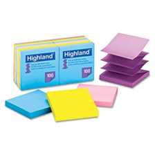 Highland™ Self-Stick Pop-Up Notes, 3 x 3, Assorted Bright, 100-Sheet, 12/Pack