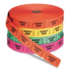 PM Company® Admit One Single Ticket Roll, Numbered, Assorted, 2000 Tickets/Roll