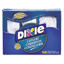 Dixie® Combo Pack, Tray w/ White Plastic Utensils, 56 Forks, 56 Knives, 56 Spoons