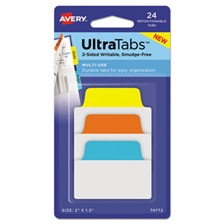 Avery® Ultra Tabs Repositionable Tabs, 2 x 1 1/2, Primary:Blue, Orange, Yellow, 24/Pack