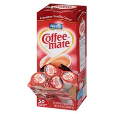 Coffee-mate® Liquid Coffee Creamer, Cinnamon Vanilla, 0.375 oz Mini Cups, 50/Bx, 4 Box/Carton