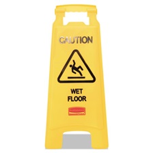 Rubbermaid® Commercial Caution Wet Floor Floor Sign, Plastic, 11 x 1 1/2 x 26, Bright Yellow, 6/Carton