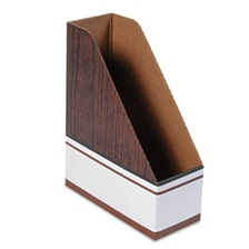 Bankers Box® Corrugated Cardboard Magazine File, 4 x 9 x 11 1/2, Wood Grain, 12/Carton