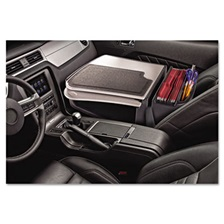 AutoExec® GripMaster 01 Auto Desk w/Retractable Writing Surface & Supply Organizer, Gray
