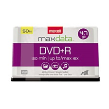 Maxell® DVD+R Discs, 4.7GB, 16x, Spindle, Silver, 50/Pack