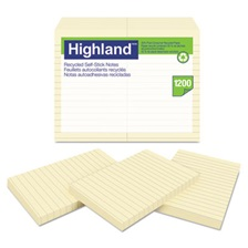 Highland™ Recycled Self Stick Notes, 4 x 6, Yellow, 100 Sheets/Pad, 12 Pads/Pack