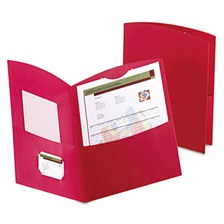 Oxford™ Contour Two-Pocket Folder, Recycled Paper, 100-Sheet Capacity, Red